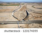 Major Interstate interchange construction viewed from above - stock photo