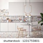 dining room and kitchen... | Shutterstock . vector #1231753801