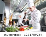 the chef prepares a dish in the ... | Shutterstock . vector #1231759264
