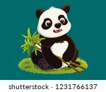 cute young panda cartoon... | Shutterstock .eps vector #1231766137