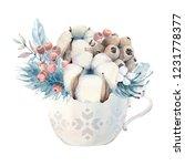watercolor winter composition....   Shutterstock . vector #1231778377