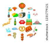 european food icons set....