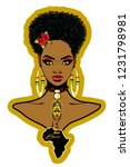 beautiful black woman with afro ...   Shutterstock . vector #1231798981