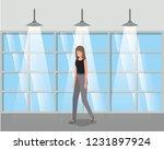 corridor building with...   Shutterstock .eps vector #1231897924