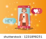 woman in smartphone with social ... | Shutterstock .eps vector #1231898251