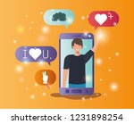 man in smartphone with social... | Shutterstock .eps vector #1231898254