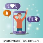 man in smartphone with social... | Shutterstock .eps vector #1231898671