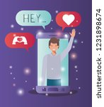 man in smartphone with social... | Shutterstock .eps vector #1231898674