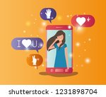 woman in smartphone with social ... | Shutterstock .eps vector #1231898704