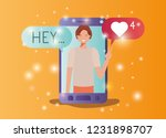 man in smartphone with social... | Shutterstock .eps vector #1231898707