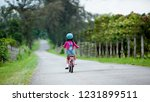 child on a bicycle at asphalt... | Shutterstock . vector #1231899511