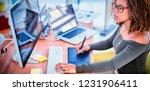 female graphic designer working ... | Shutterstock . vector #1231906411