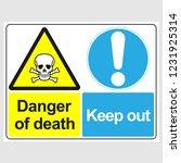 "plate  ""danger of death. keep... | Shutterstock .eps vector #1231925314"