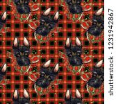 Red Checked Fabric Pattern....