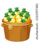 pineapple in the weave basket... | Shutterstock .eps vector #1231957381