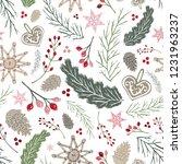 seamless vector holiday folk...   Shutterstock .eps vector #1231963237