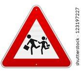 Pedestrian Danger Sign   Red...