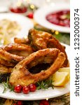 christmas carp  fried carp fish ... | Shutterstock . vector #1232000374