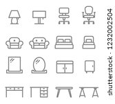 furniture vector line icon set. ... | Shutterstock .eps vector #1232002504