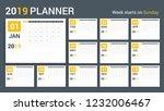 2019 calendar planner template  ...   Shutterstock .eps vector #1232006467
