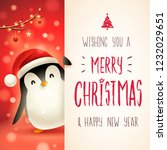 cute little penguin with big... | Shutterstock .eps vector #1232029651