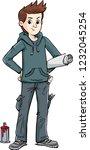 boy who draws graffiti down the ...   Shutterstock .eps vector #1232045254