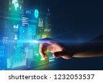 female finger touching a beam... | Shutterstock . vector #1232053537