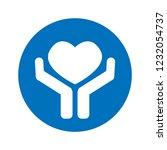 symbol of hands holding heart.... | Shutterstock .eps vector #1232054737