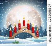 wooden christmas candlestick... | Shutterstock .eps vector #1232058907
