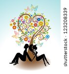 Man, Woman sitting under Love tree with color flowers and butterfly for Valentine card, vector - stock vector