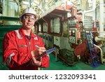 ship's mechanic near marine... | Shutterstock . vector #1232093341