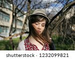 portrait of a woman with hat. | Shutterstock . vector #1232099821