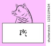 figure pig and empty white... | Shutterstock .eps vector #1232109634