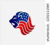 lion usa flag   | Shutterstock .eps vector #1232111584