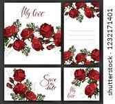 romantic invitation. rose red.... | Shutterstock .eps vector #1232171401