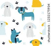 Stock vector seamless pattern with funny dogs kids cute print vector hand drawn illustration 1232175934