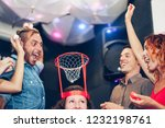 group of friends playing funny... | Shutterstock . vector #1232198761
