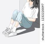woman wearing jeans sitting in... | Shutterstock .eps vector #1232220097