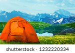 tourist tent camping in... | Shutterstock . vector #1232220334