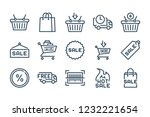 shop and sale related line icon ...