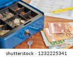 A Cash Box With Euro Banknotes...