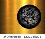 background 3d gold metallic... | Shutterstock .eps vector #1232255071