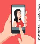 take face photos. woman taking... | Shutterstock .eps vector #1232307637