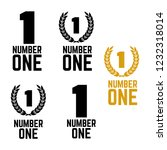 number one retro labels. set of ... | Shutterstock . vector #1232318014