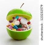 open ripe apple full of... | Shutterstock . vector #123232579