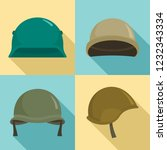 army helmet icon set. flat set... | Shutterstock .eps vector #1232343334