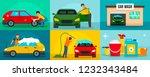 car wash cleaning banner set.... | Shutterstock .eps vector #1232343484