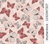 pattern with red butterflies on ... | Shutterstock .eps vector #1232347327
