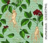 realistic botanical ink sketch... | Shutterstock .eps vector #1232357941