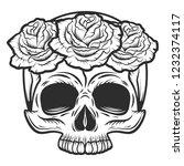 vintage human skull with rose... | Shutterstock .eps vector #1232374117